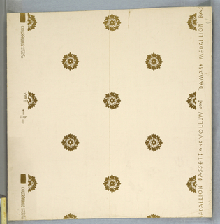 Design of medallions (formed by placing eight leaves around a six lobed figure) arranged as drop repeats. Printed in gilt on white paper.