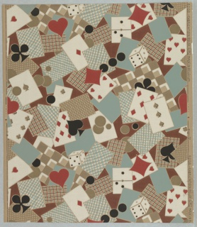 """Gambling paper. Design composed of playing cards, poker chips, and dice, with hearts, diamonds, clubs, and spade motifs in a free, all over, haphazard arrangement. Printed in selvedge: """"8208 Fabrication Belge (UPL) Made in Belgium""""."""