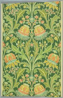 Morris-derived floral pattern. Symmetrical on either side of a vertical axis, fantastic flowers in pastel shades of blue, apricot, mustard yellow rise from pastel green curving foliage. The floral and foliate forms outlined in reserve of ungrounded paper color, with dark green background.