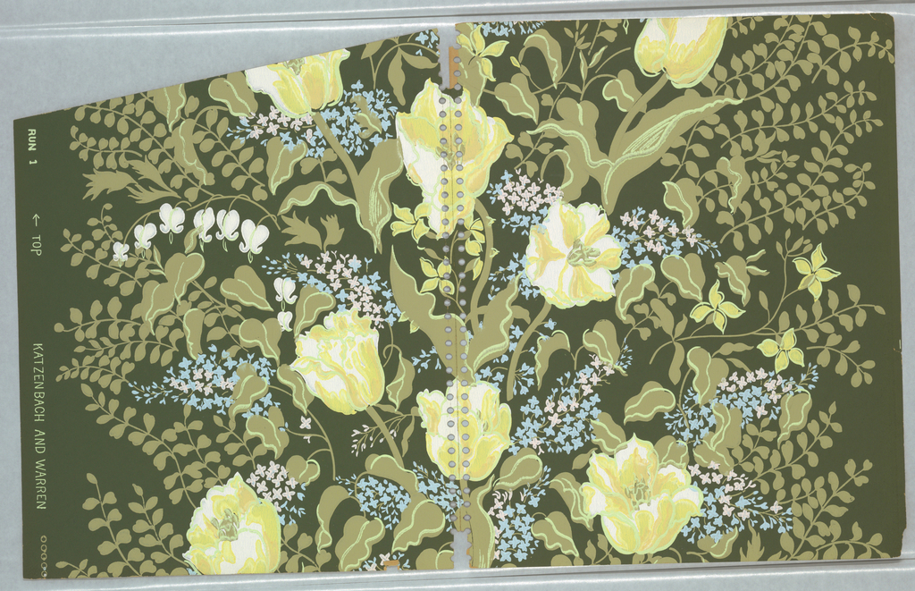 Pattern of flower garden rendered in impressionistic brushstrokes; large yellow and white tulip-like flowers, clusters of pale pink and light blue lilac flowers, sprays of white foxgloves and stylized four-petaled flowers, and dark olive green foliage; on deepgreen-gray ground. No clear repeat.