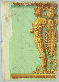 Half figure with a female head and torso, morphing into an acanthus foliate base. Directly behind this figure is a pendant ancanthus anthemion, followed by what appears to be another half figure, a mirror image of the prior.  which is the mirror image. These three elements form a pilaster supporting a narrow capital and cable molding. The ground is printed in imitation of geen stone.