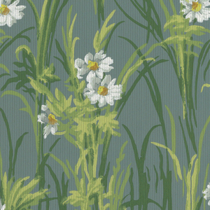 On grayed-turquoise ground, naturalistic daisies with foliage in three shades of green, overprinted with black pin-stripes.