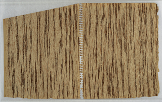 Faux bois or imitation woodgrain pattern; light-brown with dark-brown grain and all-over field of small brown streaks to add to sense of texture.