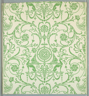 Bisymmetrical arabesque with griffons and foliage forms. Green on white ground.