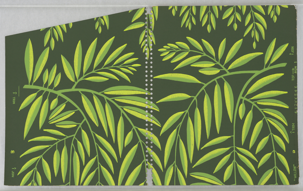Pattern of stylized branches with thin, two-tone yellow-and-green leaves and white stems on a black ground; branches are reflected across vertical axis with slight variations in design of each motif.