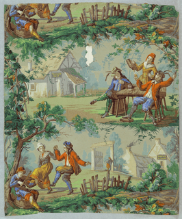 Vertical rectangle, giving slightly more than one repeat of paper. Figured medallions, one of seated fiddler with man and woman dancing; in background house with a sign: Good Ale Sold Here. Alternate medallion shows two men at a table with woman pouring ale into the glass of one; in background, house with a sign: Travelers Rest.