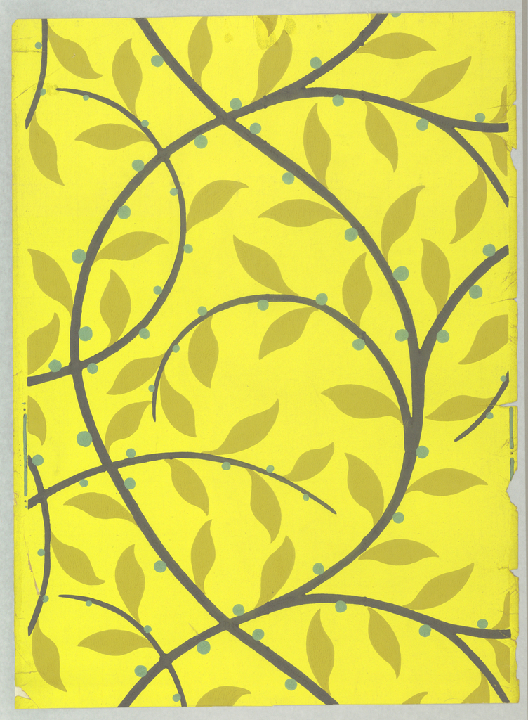 Printed for Nancy McClelland of New York City. A stylized continuous vine in deep blue with mustard-colored leaves and green berries. Same design as 1945-3-7. Printed in mustard, deep blue and gray on lemon field.