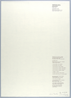 Vertical rectangle. Title page for seventh plate.  Printed black text in vertical block on white ground, flush right, with title of plate 7 at upper right corner;  authorization of reproductive prints with complete list of prints below.  [See 1999-6-5-5.]