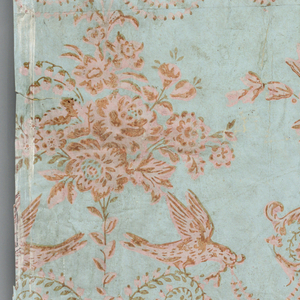 Drop-repeating design of tripod and bouquet of flowers, with foliage scrolls and addorsed birds. Printed in pink on blue ground. Vertical rectangle printed on joined sheets of paper.