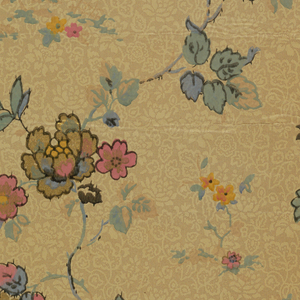 Pink, yellow, blue flowers with lace background.