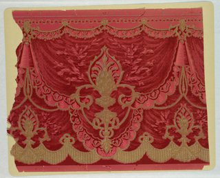 Frieze on patterned red ground, to the apearance of swagged velvet fabric or drapery gathered at the top by gold metallic fasterners; metallic gold and white torch-motif patterns bordered at the bottom by scalloped metallic gold patterned swags.