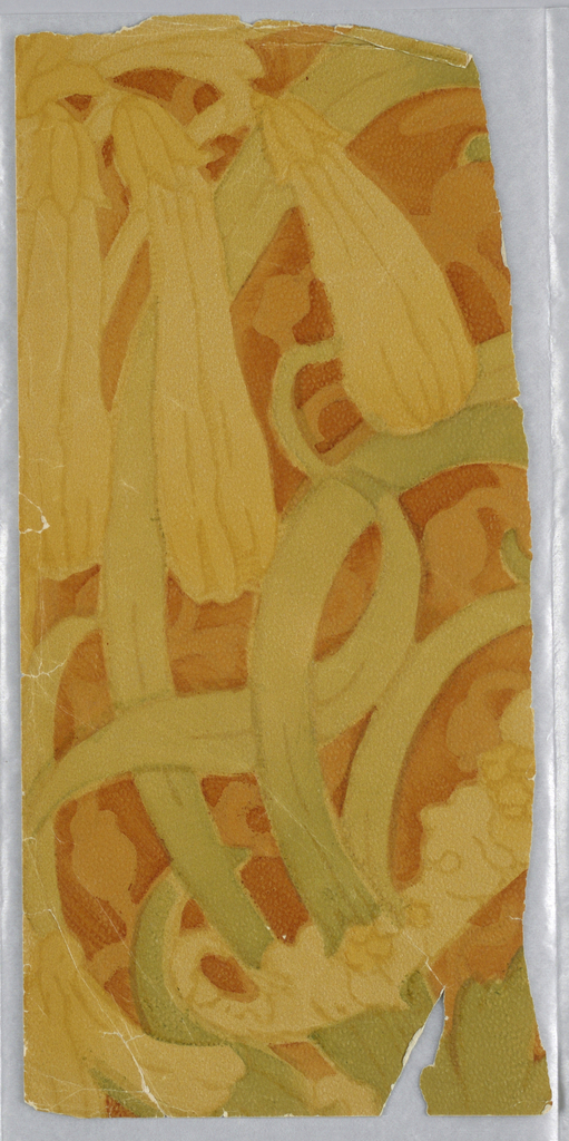 """Portion of paper with large-scale foliate design, in neutral colors. Paper is embossed with a """"pebbled"""" surface.  Printed in green, yellow and reds."""