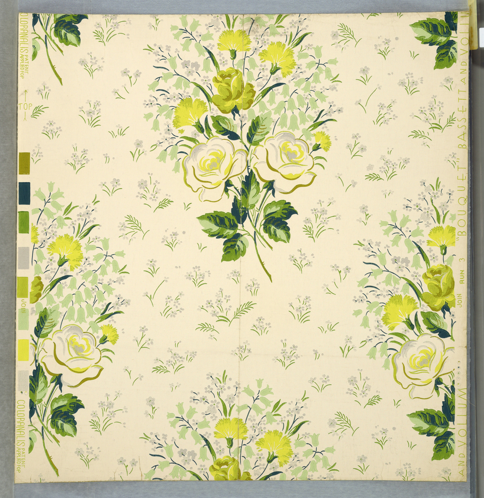 Bouquets of roses, carnations and lilies-of-the-valley arranged as drop repeats with small flowers and leaves filling the spaces between. Printed in several shades of green, yellow and gray on white ground.