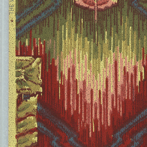 Stylized floral and foliate design, possibly based on American Indian motifs. Zig-zag design connects flower motifs. Printed in red, green and blue on off-white ground.