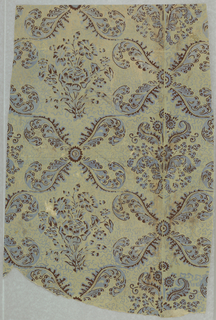 """Two floral motifs alternating among lattice of plumes, on vermiculated ground. Blue and brown on green ground. """"a"""" is the original document wallpaper, """"b"""" and """"c"""" are the Scalamandré reproductions."""