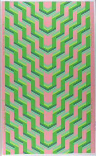 On pink ground, regularly zig-zagging bandings in five shades of green, moving vertically and horizontally, regularly repeated, descending to central point.