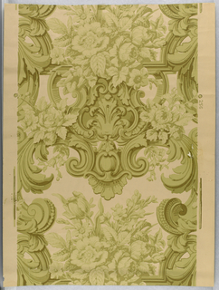 "Rococo revival-style. FLoral bouquet sitting atop a foliate medallion and escutcheon. Large foliate scrolls appear on either side.  Printed in four shades of light to dark olive green. Printed in selvedge: ""256""."