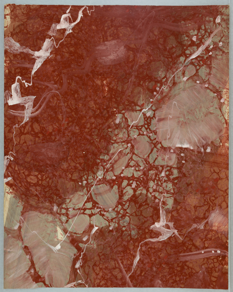 Irregular marbleized design with white and orange veining on silver-gray. A good part of the design is a clouded, mottled orange-red.