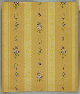 Vertical stripes of garland, leaves and lavender flowers.