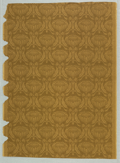 Rows of drop-repeating conventionalized flower forms surrounded by acanthus leaves with geometric stem; printed in light brown on brown ground.