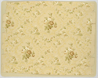"On tan ground, alternating brown and off-white rose bouquet within ""c""-scroll medallions of white and yellow mica."