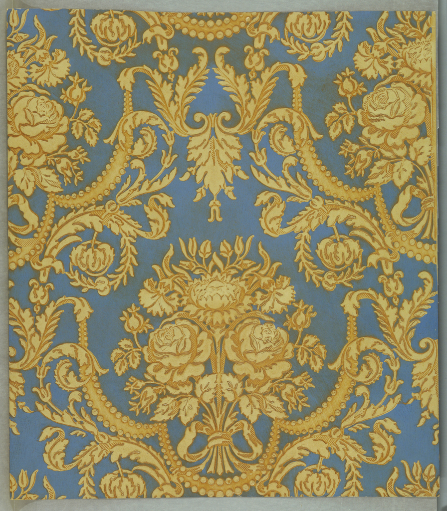"""A large floral design of a cluster of three roses and buds tied with a bow knot of ribbon. All enclosed in a meandering frame of acanthus leaves joined at bottom of bouquet by festooned drapery. The entire design is heavily embossed. The antiquing is done by hand. On reverse side is printed: """"Hand made no 8482 E M"""". Printed with oil paints."""
