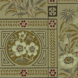 Two aesthetic-style sidewall designs, printed in light and dark olive greens with gold accents.