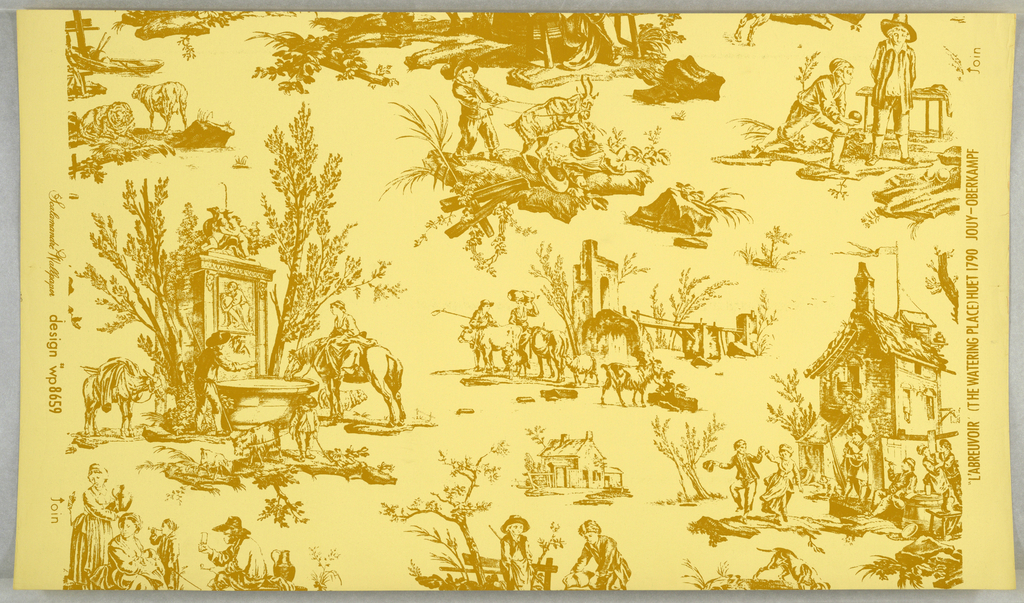 "On yellow ground, mustard-colored linear vignettes: peasant scenes, houses, animals, including horse drinking from a fountain. Printed in margin: ""L'Arbreuvoir (the watering place) Huet 1790 Jouy - Oberkampf."""