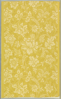 "Continuous scroll design formed by large peony flowers and a variety of imaginative flowers of medium size. Leaves forming scrolls are of a luxurious species. Stems, leaves and flowers are outlined with small pin point dots in deep gold color as are also the tendrils. From old house in Annisquam, Massachusetts. Printed in selvedge: ""Howelll & Brothers, Philada. 996 P 2"". Printed in deep gold and white on gold color."