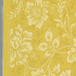 """Continuous scroll design formed by large peony flowers and a variety of imaginative flowers of medium size. Leaves forming scrolls are of a luxurious species. Stems, leaves and flowers are outlined with small pin point dots in deep gold color as are also the tendrils. From old house in Annisquam, Massachusetts. Printed in selvedge: """"Howelll & Brothers, Philada. 996 P 2"""". Printed in deep gold and white on gold color."""