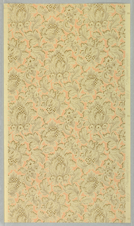 Gray and gold floral pattern on peach background