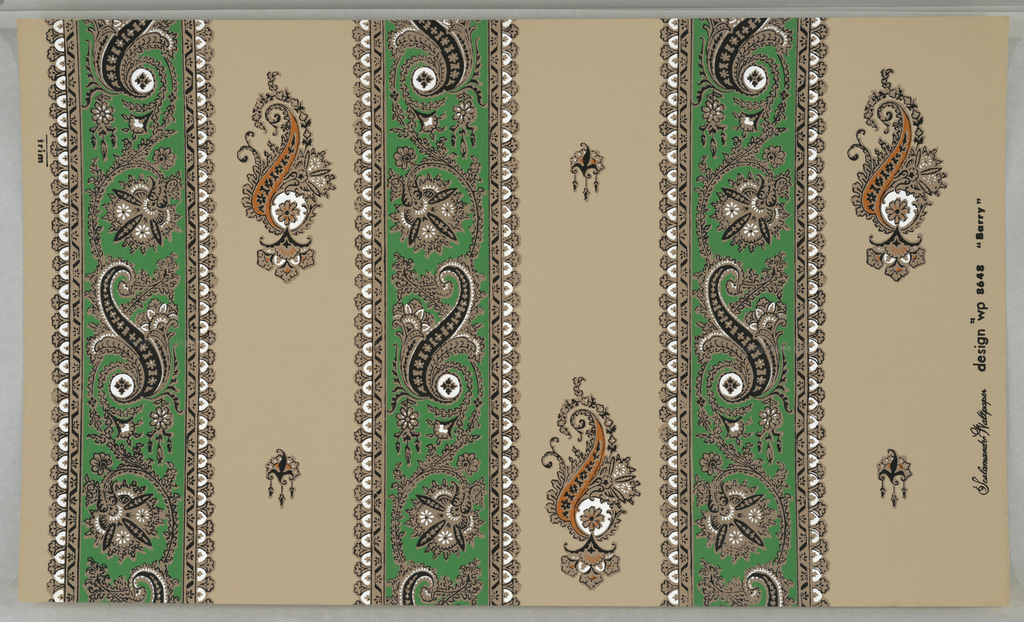 """On light brown ground, paisley stripe. Alternating black, green and white paisley-patterned bandings and wider areas of ground color with isolated paisley motifs in black, mustard and white. Printed in margin: """"Scalamandre Wallpaper design wp8648 """"Barry""""."""