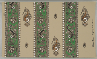 "On light brown ground, paisley stripe. Alternating black, green and white paisley-patterned bandings and wider areas of ground color with isolated paisley motifs in black, mustard and white. Printed in margin: ""Scalamandre Wallpaper design wp8648 ""Barry""."