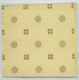 "Moire pattern printed in mica on white ground. On off-white ground, alternating medallion patterns framed by reflective ""c""-scrolls: one medallion is green and reflective white; the other medallion is metallic gold outlined in green."