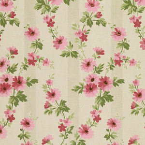 Vining floral with pink and red flowers, printed over background of mica-striped white.