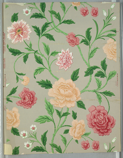 Design of branching stems with several kinds of flowers and leaves. Printed in pink, apricot, white, green on gray ground.