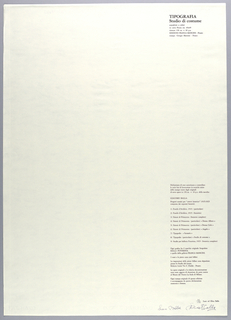 Vertical rectangle. Title page for eighth plate.  Printed black text in vertical block on white ground, flush right, with title of plate 8 at upper right corner;  authorization of reproductive prints with complete list of prints below.  [See 1999-6-5-5.]