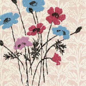On pink ground, small-scale fill pattern of leaves on contiguous vertical vines with overprinted blue, mauve, bright red and pink anemones with black foliage.