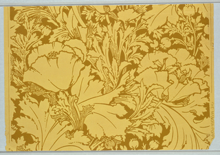 Art nouveau design containing large-scale poppies with foliage and pods. Printed in deep ocher-green on ocher paper.