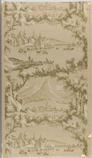 "Vertical rectangle, a full width, giving nearly two repeats. Framework of rocks, shrubs and trees enclosing scenic vignettes; one, a countryside with village, two ruin-crowned hills in background; the other, a river with boats, houses and belfries on bank. Printed in right border: ""Allen-Higgins W.P. Co., 2752 ""Vogue papers""."
