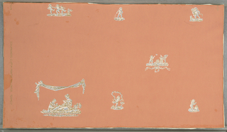 Widely spaced cameo-like cherubim and seated maidens in Empire garb. a) Has chalk-white figures, shaded in gray and brown, on slate-green ground; b) White figures shaded with gray and red on black ground; c) White figures shaded in blue and brown on pink ground; d) White and brown figures on blue ground.