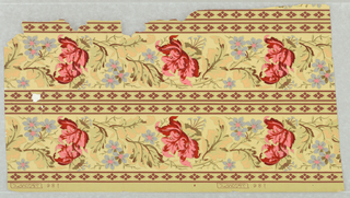 Sample of two widths of border printed on one length of paper. On greenish-cream ground, brown geometric ornament, central banding of red, blue, pink and pale apricot flowers.