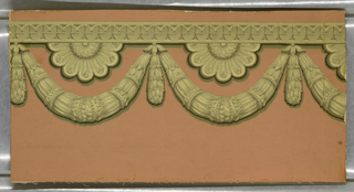 Design in classic style simulating architectural ornament and showing a horizontal band of curving reeded forms strung side by side on a rod, with leaf swags below enclosing half rosettes. Printed in cream, yellow, brown, and black on gray ground.