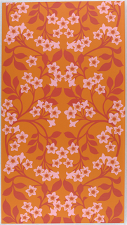 On burnt-orange ground, large scale branching leafy stems in flat red with bright-pale lavender/pink blossoms.