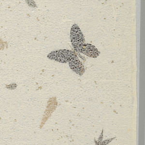 Butterflies and leaves with specks of gold and silver, laminated between a solid and a lacy rice paper. Marked in ink: P-78.