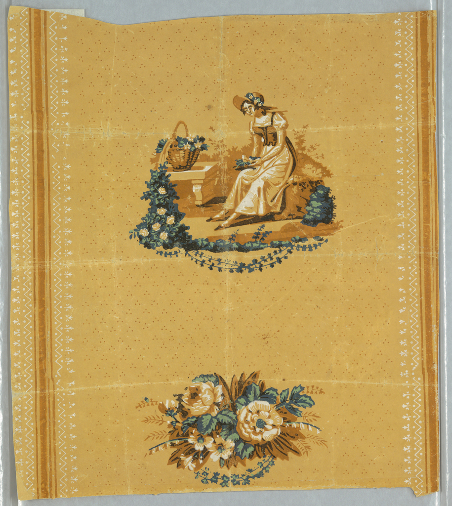 Vignettes in browns, green, blue and white against an ocher background diapered with three-dot pattern in light brown; between vertical brown stripes bordered by white lacy pattern.  The scene contains a seated maiden holding bird in nest, with stone bench and basket of flowers, alternating with a smaller floral bouquet.