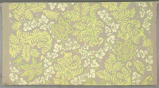 "All-over design of large flowers and large scrolling leaves and of vine with leaves and berries. Printed in yellow, green and white on gray ground. Marked in selvedge: ""Schumacher's Custom Hand Print 'Fox Grapes'""."