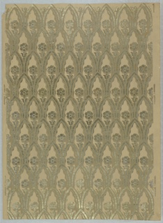 Staggered horizontal rows of pointed arches with scalloped inner edges which enframe single flower with conventionalized leaves and stem. Printed in silver, gold, and green on brown ground.