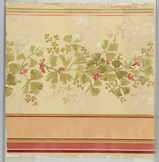 """Border design on embossed paper, three coral-colored stripes on top in varied widths between gold mica bands. Field of design portion is deep ivory. Design is a continuous vine - leaves in soft faded olive greens with coral colored berries, twigs of vine in soft gray-ivory and gold mica. One narrow soft coral stripe at bottom, below which are two narrow gold mica stripes. """"Robert Graves Co."""" printed on outer edge."""