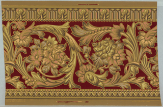 "Large foliated waved stem band with flowers in shades of brown, pink, lavender and yellow outlined in metallic gold over red flocked background, between bandings of beading and double tongue and leaf with beading on stripe-embossed paper. Printed in selvedge: ""Beck & Co. Patent Applied For"""